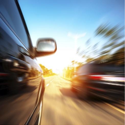 Car passing car