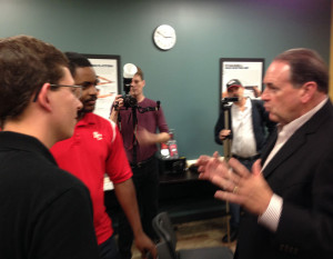 Mike Huckabee campaigning in Iowa Tuesday.