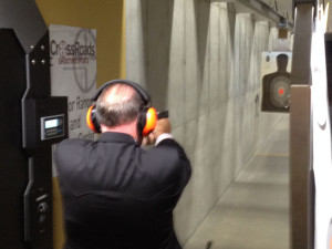 Mike Huckabee on the gun range.