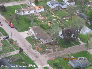 Aerial view of Lake City storm damage.