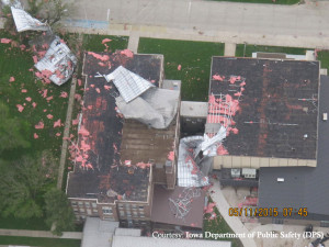 The roof was damaged at the South Central Calhoun High School in Lake City.