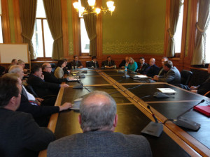 Officials discuss layoffs at the Iowa Fertilizer Plant.