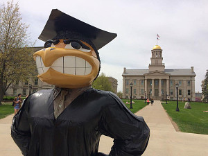 University of Iowa Herky grad statue.