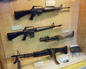The exhibit features weapons used during the Vietnam War.