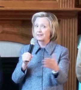 Hillary Clinton at an appearance in Mason City Monday.