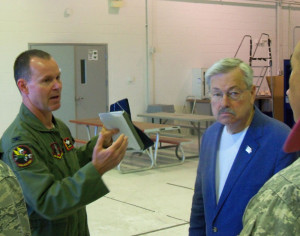 Lt. Colonel Kevin Heer on a tour of Air Guard facilities in Des Moines.