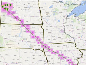 Map of Bakken pipeline route from the Dakota Access website.