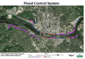 Information from the City of Cedar Rapids explaining the flood control system.