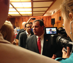 Chris Christie talks with people after his speech at Iowa State University.