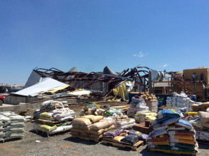 National Weather Service photo of  tornado damage Monday.