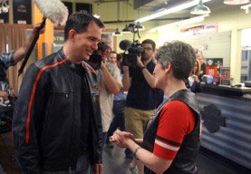 Wisconsin Governor Scott Walker talks with Senator Joni Ernst.