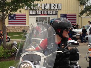 Senator Joni Ernst leading motorcycle ride.