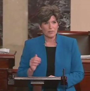 Senator Joni Ernst speaking on the Senate floor.
