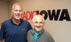 Chuck Long (L) and Radio Iowa Sports Director Todd Kimm.