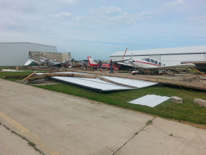 A hanger and 5 planes were damaged by a storm at the Sheldon Airport.