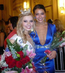 New Miss Iowa, Taylor Wiebers (left) of Clinton, and 1st runner up, Miss Muscatine, Kristen One.