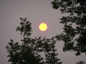 Sunsets have a golden hue caused by smoke from Canadian fires.