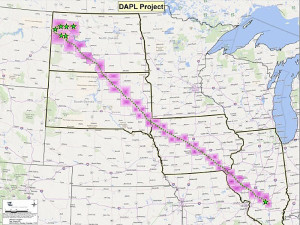 Route of the proposed Bakken pipeline.