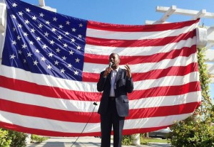 Dr. Ben Carson speaking to a crowd of supporters.