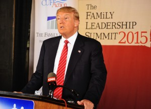 Donald Trump answers questions from the media at The Family Leadership Summit in Ames.