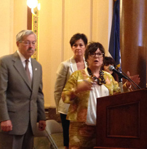 Economic Development director Debbi Durham, Governor Branstad and Lt. Governor Reynolds. (file photo)