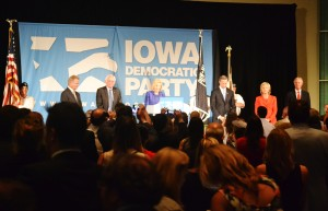 All five of the Democratic presidential candidates take the stage for the first time in Cedar Rapids.