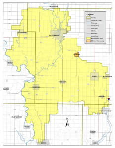 Map of boil advisory area.