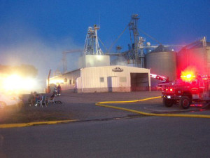 Firefighters were called to the Deluxe Feed Incorporated elevator.