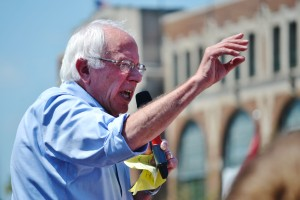 Bernie Sanders speaking at the Des Moines Register's Soap Box.