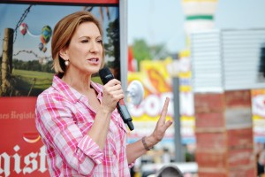 Carly Fiorina speaking at the Soap Box.