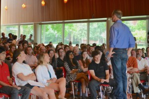 Martin O'Malley speaks to a crowd of students at Grinnell College.