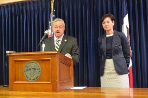 Terry Branstad speaking at his weekly news conference.