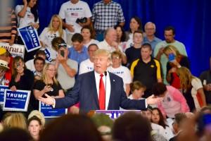 Donald Trump at his event in Dubuque.
