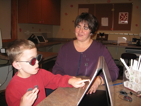 Dr. Triebel works with a vision therapy patient