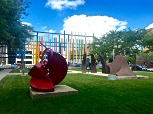 The AEG sculpture garden, located right next to the main building.