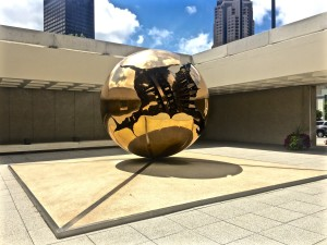 """Sphere within a Sphere"" piece by Arnaldo Pomodoro, at the front entrance to the AEG building."
