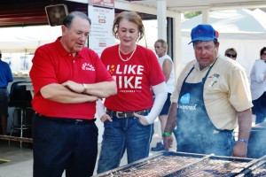 Mike Huckabee and his wife at the Iowa Pork Tent.