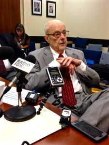 Chuck Palmer speaks to reporters after the Iowa Council on Human Services meeting.