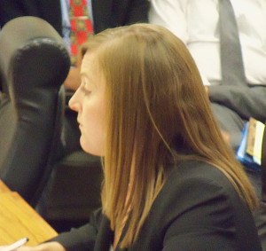 Nicole Proesch listens to questions from Board of Education members.