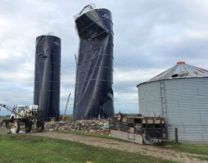 National Weather Service photo of silos damaged near Prescott.