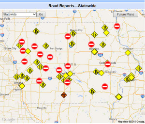 DOT road report map.