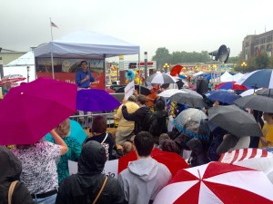 Marco Rubio speaking at the Soap Box under the pouring rain.
