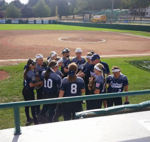 The Central Iowa softball team prepares for a game.