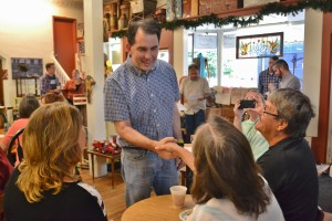 Scott Walker meets with supporters at the Corner Coffee Shop in Greenfield.