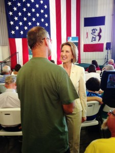 Carly Fiorina speaking to supporters in Alden.