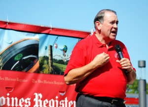 Mike Huckabee speaking at the Des Moines Register's Soap Box stage.