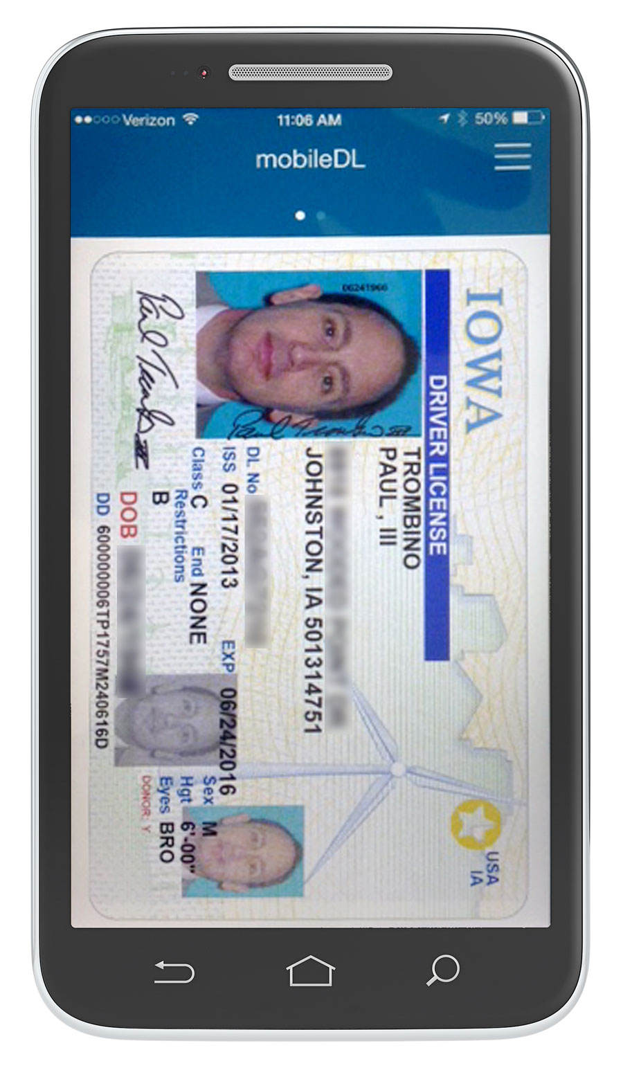 mobile driver 39 s license being tested by dot uses selfie for verification radio iowa. Black Bedroom Furniture Sets. Home Design Ideas