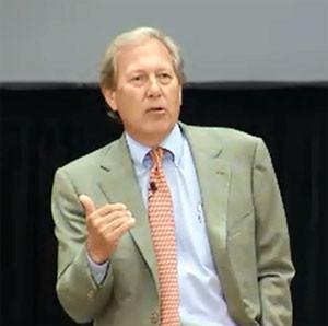 Bruce Harreld speaks during his public forum in Iowa City.