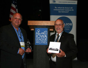 Newton Mayor Mike Hansen and Newton City Councilman Steve Mullan accept the All-Star Community Award.