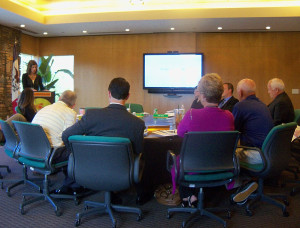 Iowa Lottery VP Mary Neubauer updates the board on touch screen legislation.
